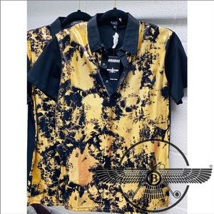 Mens BARABAS Polo Black w/ Gold Foil Abstract